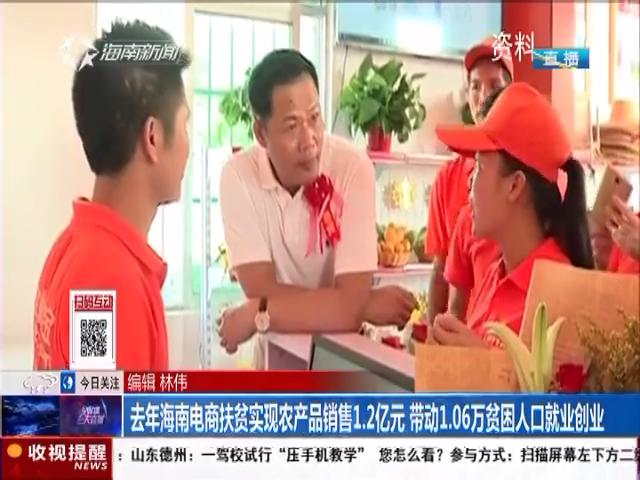 去年海南电商扶贫实现农产品销售1.2亿元 带动1.06万贫困人口就业创业