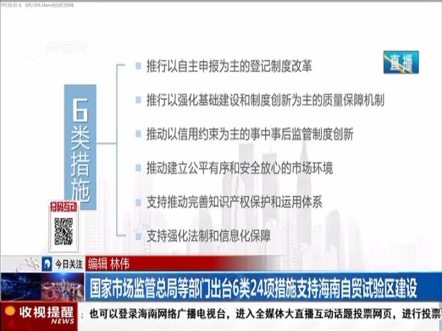 国家市场监管总局等部门出台6类24项措施支持海南自贸试验区建设