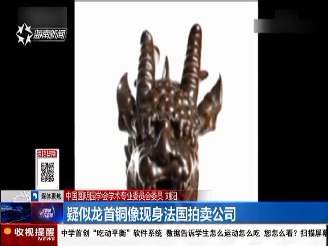 疑似龙首铜像现身法国拍卖公司