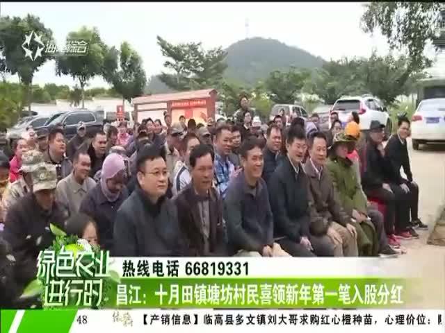 昌江:十月田镇塘坊村民喜领新年第一笔入股分红