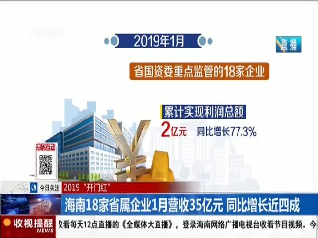 海南18家省属企业1月营收35亿元同比增长近四成