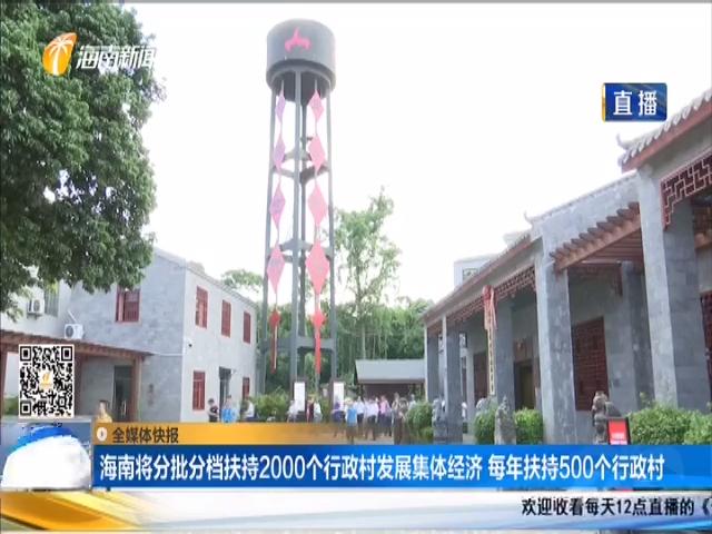 海南将分批分档扶持2000个行政村发展集体经济 每年扶持500个行政村