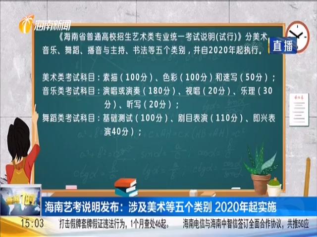 海南艺考说明发布:涉及美术等五个类别 2020年起实施