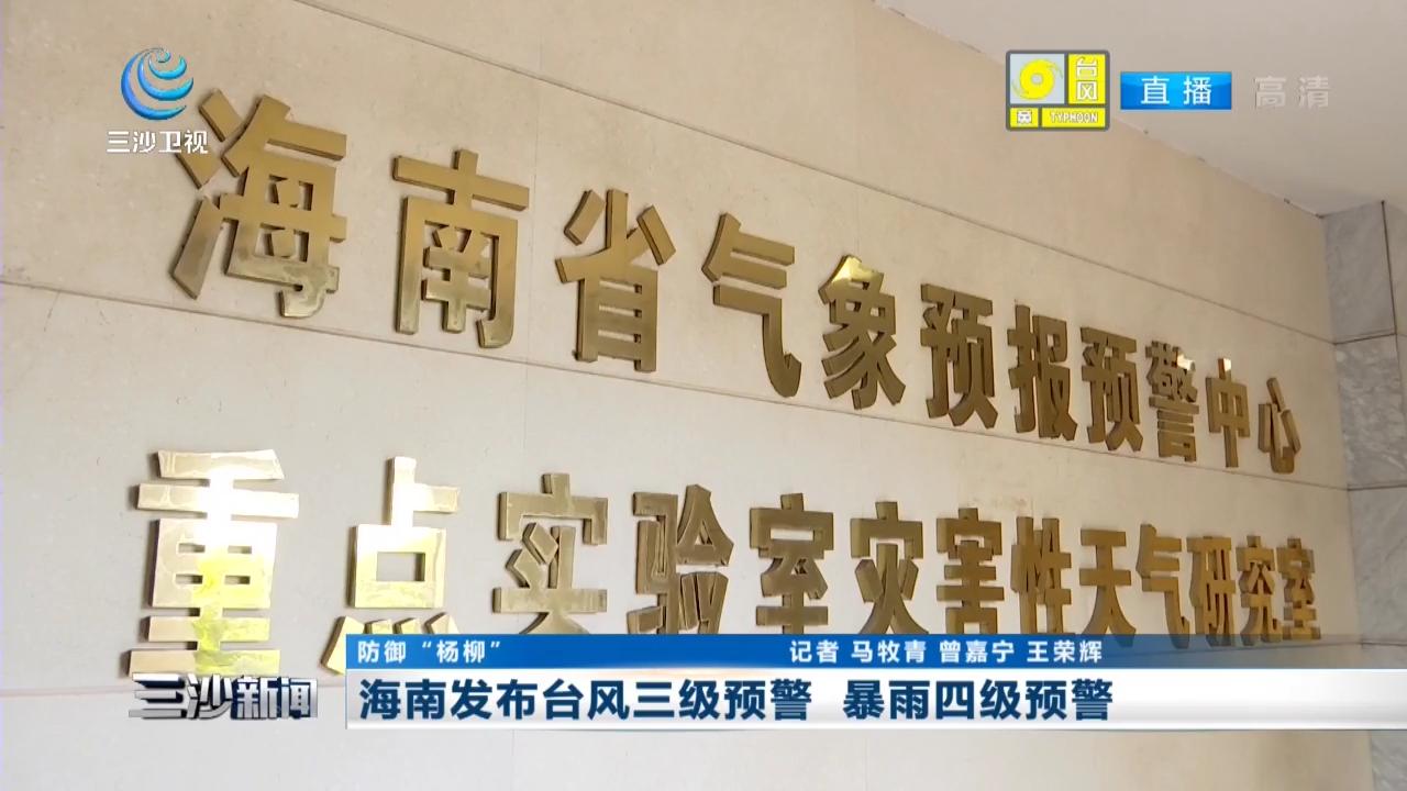 海南發布臺風三級預警 暴雨四級預警