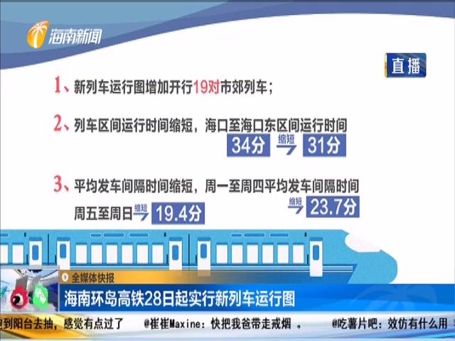 海南環島高鐵28日起實行新列車運行圖