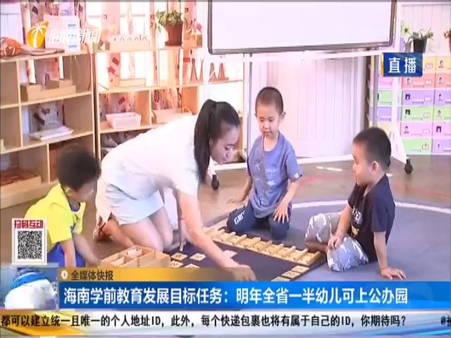 海南學前教育發展目標任務:明年全省一半幼兒可上公辦園