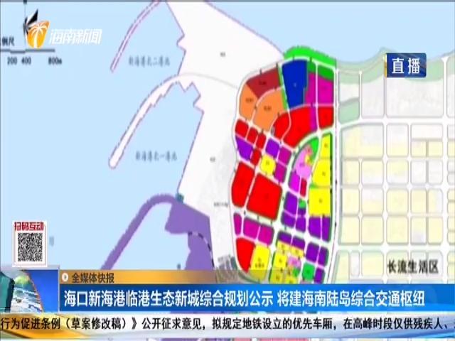 海口新海港临港生态新城综合规划公示 将建海南陆岛综合交通枢纽