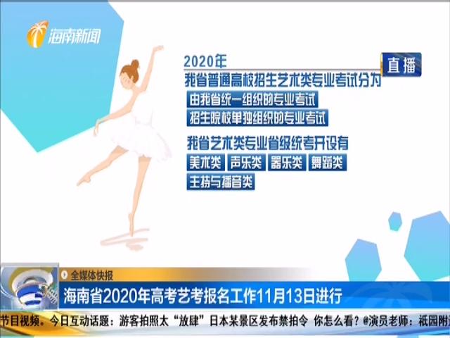 海南省2020年高考艺考报名工作11月13日进行