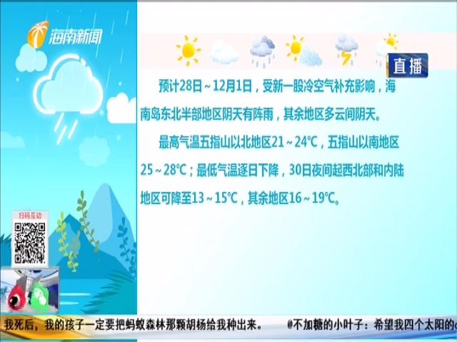 最低温13℃ 本周两股冷空气影响海南
