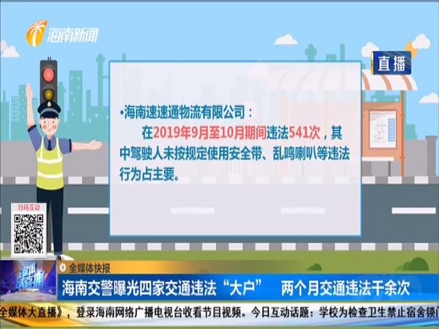 """海南交警曝光四家交通违法""""大户"""" 两个月交通违法千余次"""