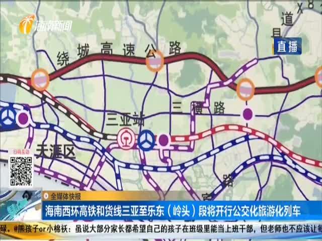 海南西環高鐵和貨線三亞至樂東(嶺頭)段將開行公交化旅游化列車