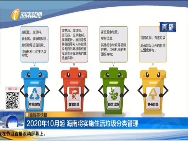 2020年10月起 海南将实施生活垃圾分类管理