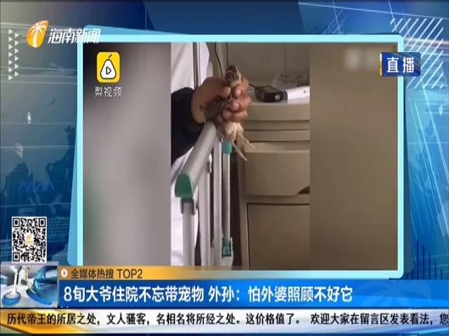 8旬大爷住院不忘带宠物 外孙:怕外婆照顾不好它