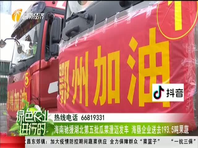 海南驰援湖北第五批瓜菜澄迈发车 海垦企业送去193.5吨果蔬