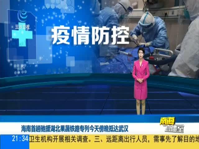 海南首趟馳援湖北果蔬鐵路專列今天傍晚抵達武漢
