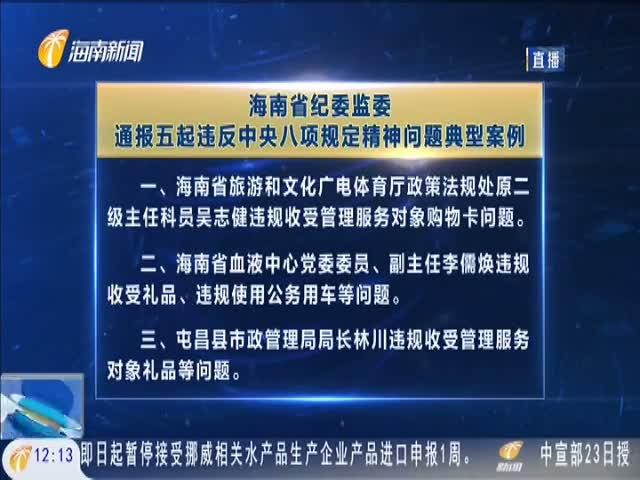 节前警示!海南省纪委监委通报五起违反中央八项规定精神问题典型案例