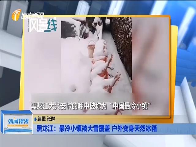 黑龙江:最冷小镇被大雪覆盖 户外变身天然冰箱