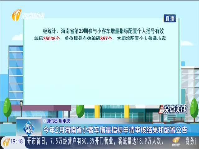 今年2月海南省小客车增量指标申请审核结果和配置公告
