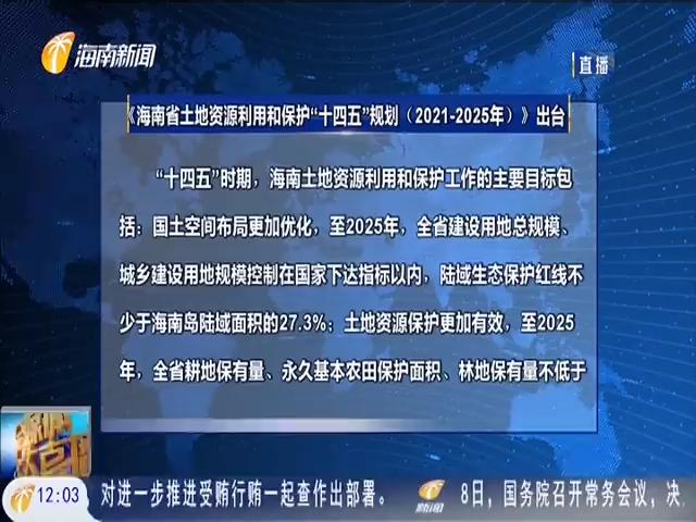 """海南计划""""十四五""""时期新增耕地3500公顷"""