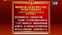 海南省第六届人大代表大会第三次会议关于政府工作报告的决议
