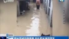陵水县城突降暴雨 街头积水淹没汽车