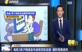 海南3男子网络发布虚假贷款信息 被判有期徒刑