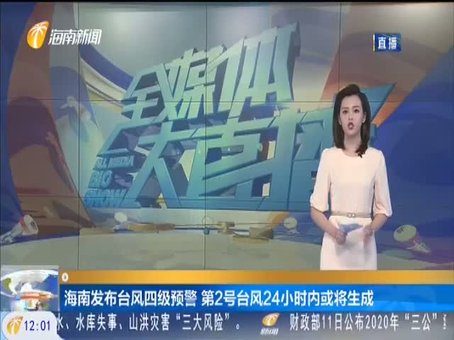 海南发布台风四级预警 第2号台风24小时内或将生成