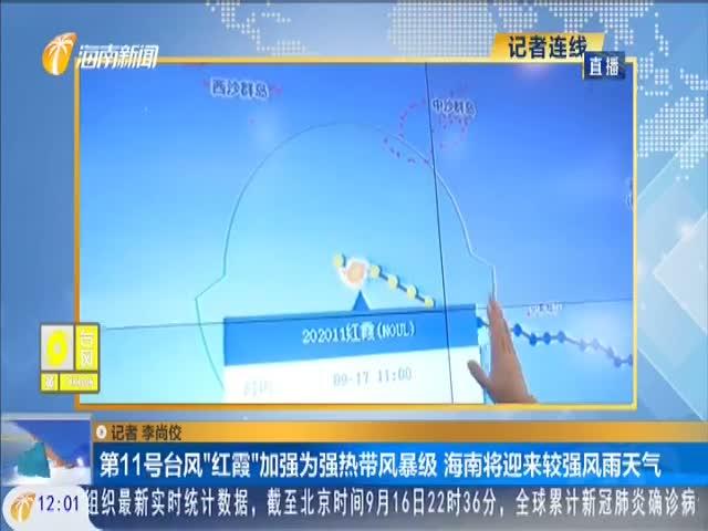 """第11号台风""""红霞""""加强为强热带风暴级 海南将迎来较强风雨天气"""