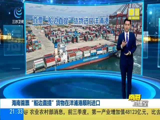 """海南首票""""船边直提""""货物在洋浦港顺利进口"""