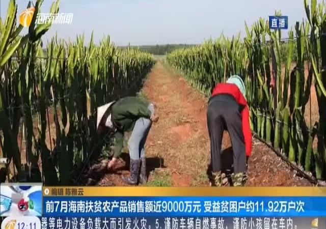 前7月海南扶贫农产品销售额近9000万元 受益贫困户约11.92万户次