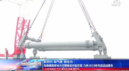 新时代 新气象 新作为:海南铺前跨海大桥钢箱梁开始吊装 力争2018年年底建成通车