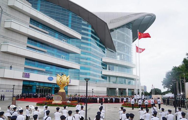 香港举行升旗仪式庆祝新中国成立71周年