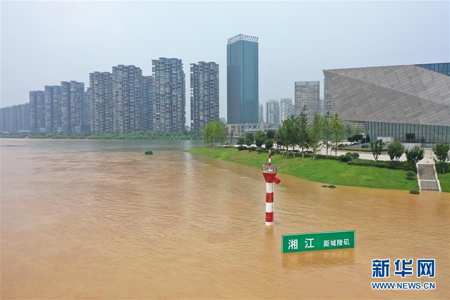 (社会)(2)湘江长沙段水位持续暴涨