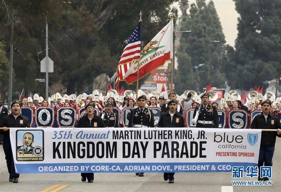 (国际)(2)洛杉矶举行马丁·路德·金纪念日游行