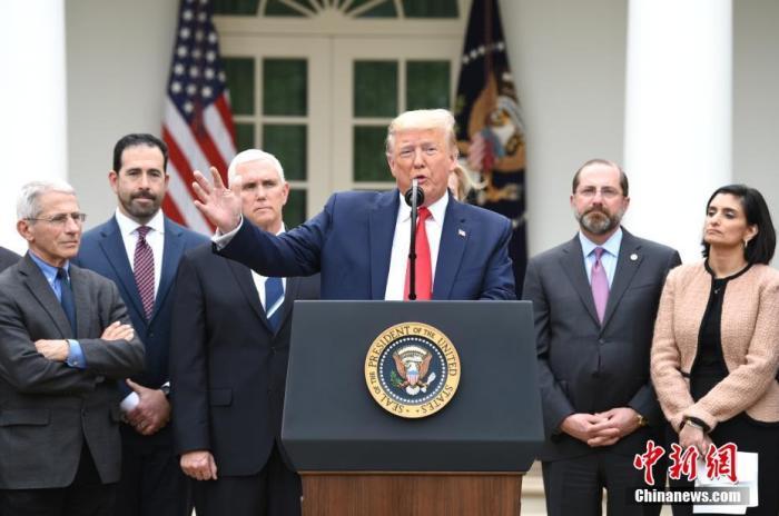 """當地時間3月13日,美國總統特朗普在白宮宣布""""國家緊急狀態"""",應對新冠肺炎疫情。 中新社記者 陳孟統 攝"""