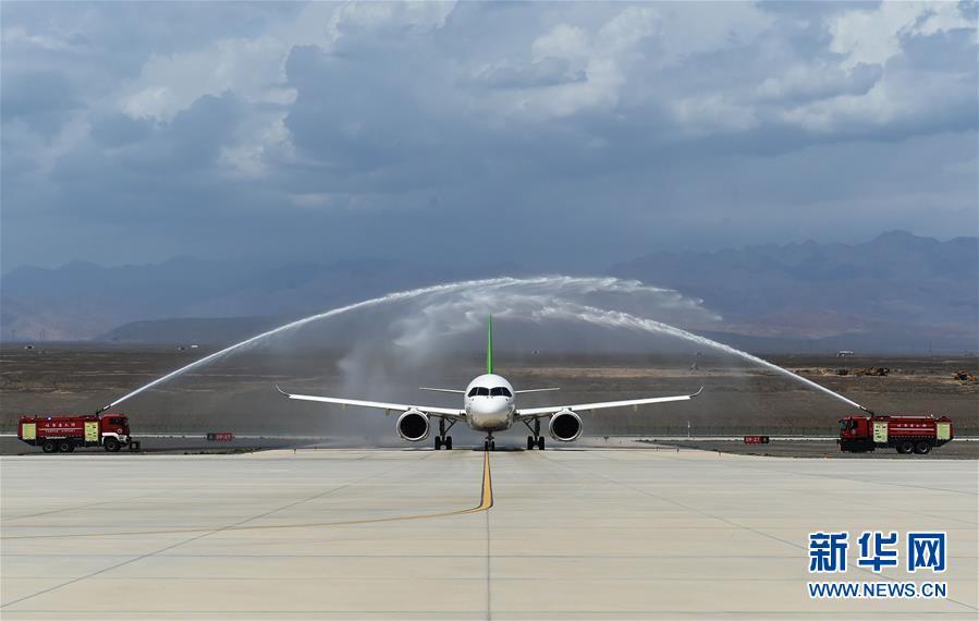 (图文互动)(1)国产C919客机飞抵吐鲁番 开展高温专项试飞
