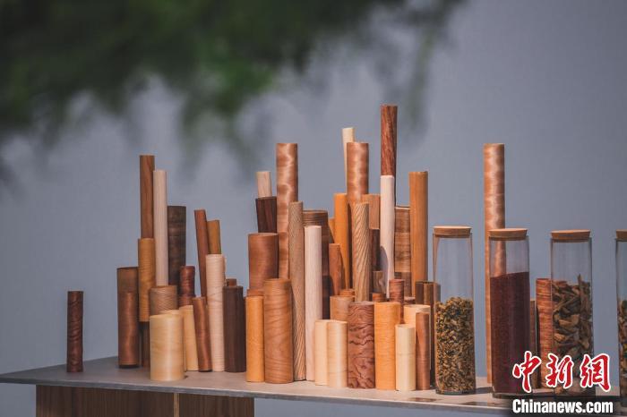 图为艺术家用木头制作的艺术品。 原美术馆供图 摄