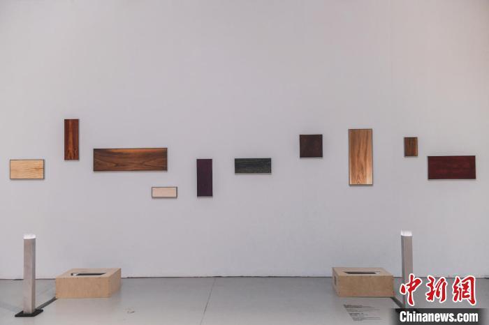 图为艺术家制作的木质装置。 原美术馆供图 摄