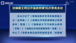 沈晓明主持召开省政府第16次常务会议  研究商事登记制度改革等事宜