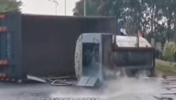 液氧罐车侧翻后发生泄露 消防近4小时成功处置