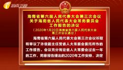 海南省第六届人民代表大会第三次会议关于海南省人民代表大会常务委员会工作报告的决议