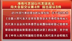 海南代表团以代表团名义向大会提交议案4件 提出建议8件