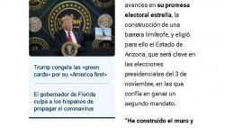 特朗普持续甩锅 吹捧边境墙100%阻挡了来自墨西哥的病毒浪潮