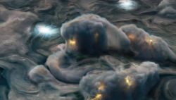 """""""朱诺号""""拍摄木星新照 大气层产生浅层闪电"""