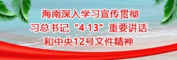 """海南深入学习宣传贯彻习总书记""""4·13""""重要?#19981;?#21644;中央12号文件精神"""