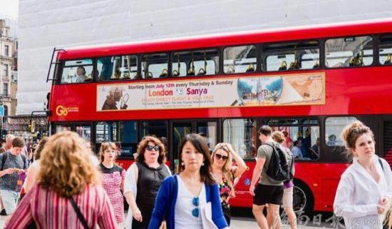 伦敦125辆公交巴士车身广告喷涂三亚=伦敦直航信息