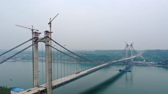 湖北宜昌:白洋长江公路大桥建设有序推进