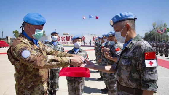 中國赴黎巴嫩維和官兵被授予聯合國勛章