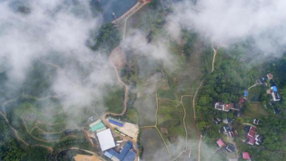 航拍江西九江乡村美景 云雾缭绕宛如仙境