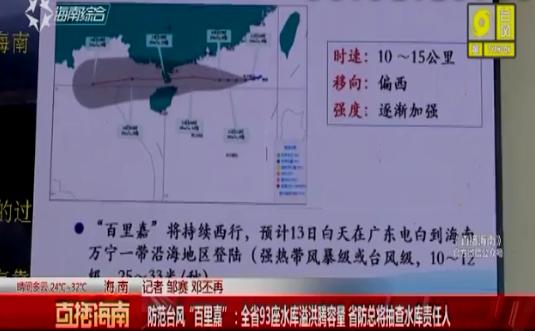 """防范台风""""百里嘉"""":全省93座水库溢洪腾容量 省防总将抽查水库责任人"""